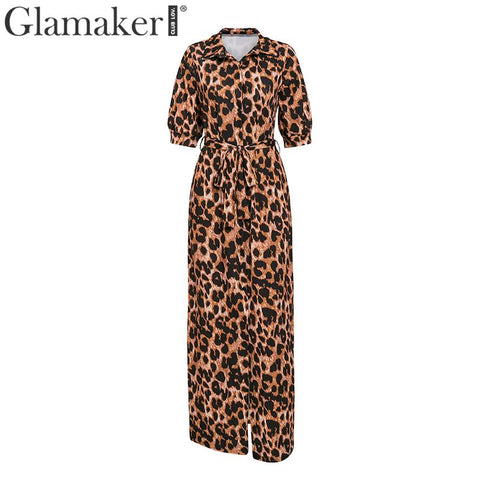 Leopard animal print belt vintage maxi dress Women elegant plus size long dress Spring summer sexy party club dress