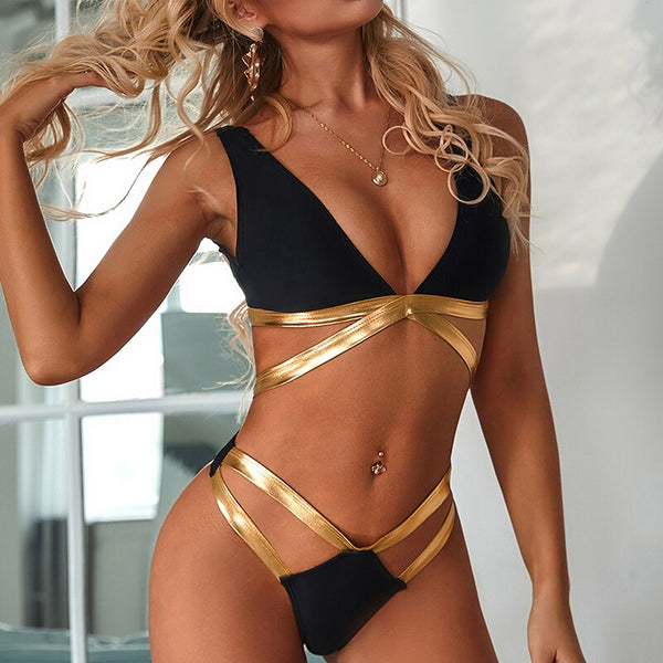 Deep v-neck woman swimsuit female bathing suit 2020 new bikini set High cut swimwear women Sexy beach wear Backless monokini new