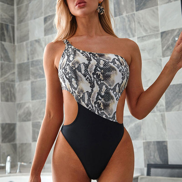 Snake print one piece swimsuit female 2020  One shoulder ring swimwear women Patchwork bathing suit bathers Summer bodysuits new