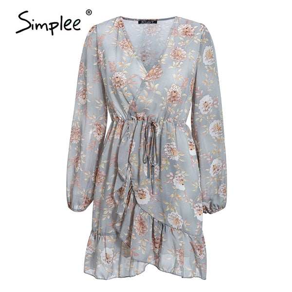 Simplee Floral print women sexy dress Long sleeve v-neck hollow out summer dress Ruffled wrap casual beach holiday dress 2020
