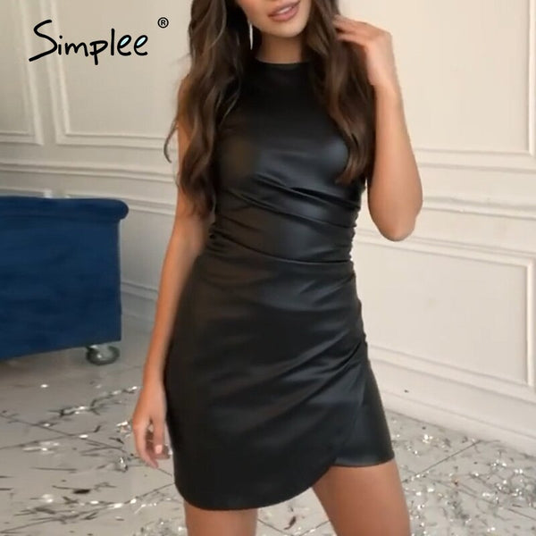 Simplee Solid leather women dress Sexy sleeveless faux ruched bodycon dress Straight ladies spring summer chic party dress 2020