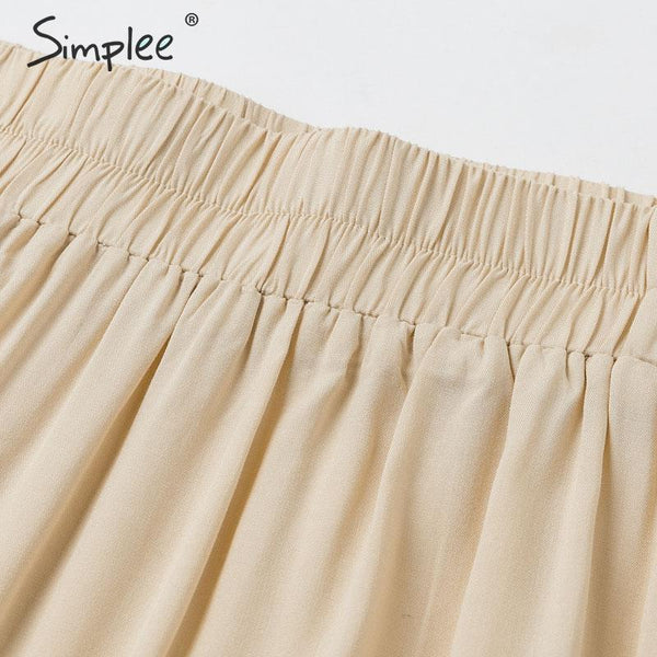 Casual ruffled cotton skirt women Pocket high waist female long a-line skirts Spring summer solid ladies skirts bottoms