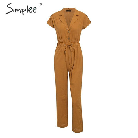 Casual high waist lace up women jumpsuits Buttons wide leg female playsuits romper Spring summer office ladies overalls