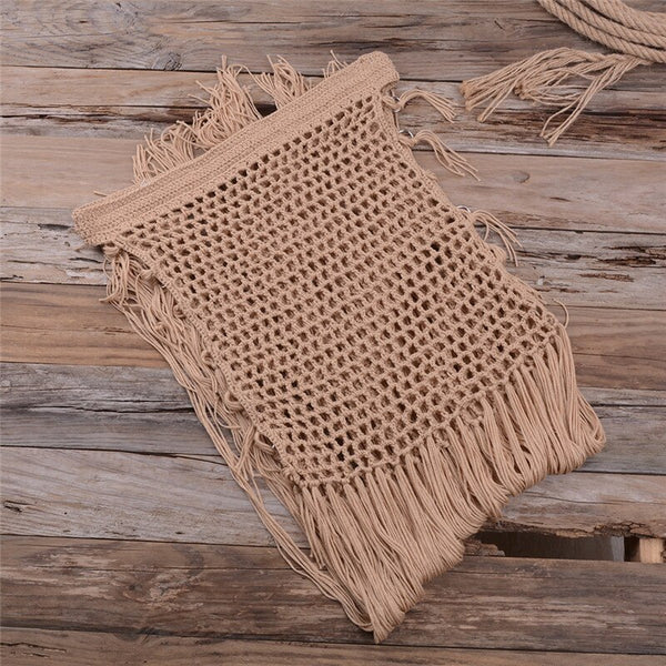 Sexy crochet bikini cover ups Solid beach wear women 2020 Tassel saide de plage Hollow out robe de plage High waist beach cover
