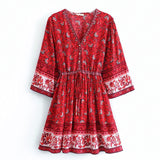 Vintage Red Boho Print Short Dress Women Summer Deep V Beach Holiday Mini Dress High Waist Drawstring Lace up Vestidos