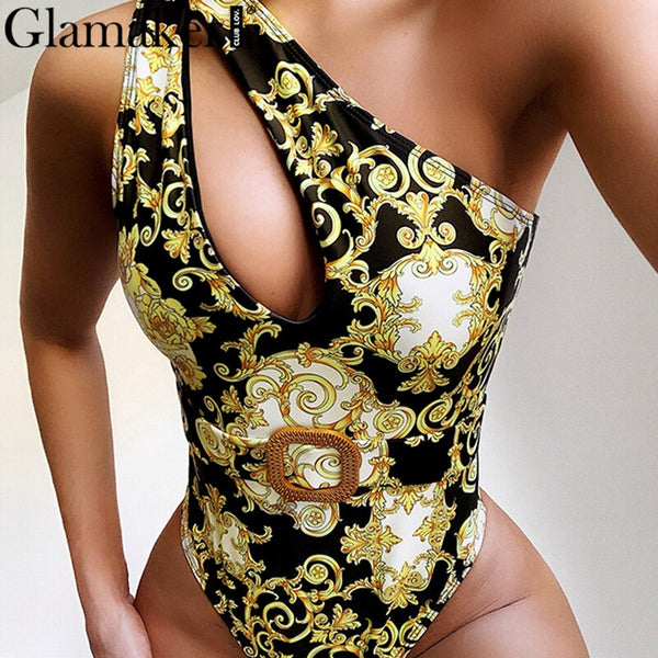One shoulder swimsuit Hollow out bathing suit Vintage print bikini 2020 High cut one-piece Belt swimwear women monokini
