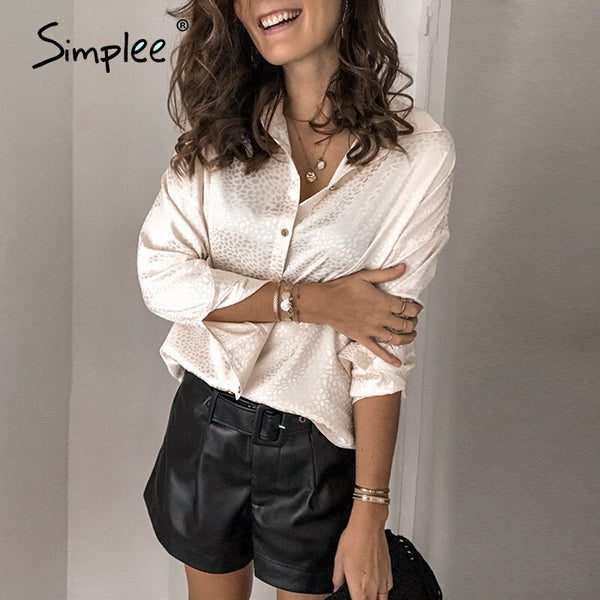 Simplee Vintage casual satin sexy women blouse shirt Female leopard print elegant blouse High fashion loose  blusas mujer tops