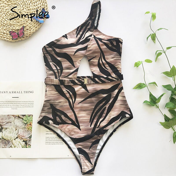 One shoulder print swimsuit female new Hollow out sexy swimwear women one piece suit High cut sexy bathing suit monokini