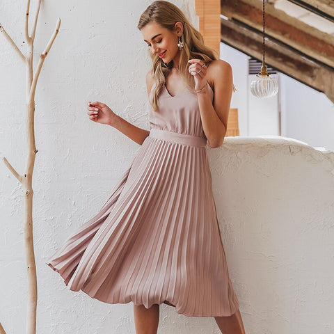 Sexy v-neck women party dress Elegant spaghetti strap female pleated office dress Solid female pink midi summer dresses