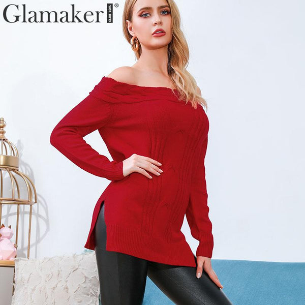 Off shoulder elegant red sweater jumper Long knitted sweater pullover women tops Split sexy sweaters female pull femme