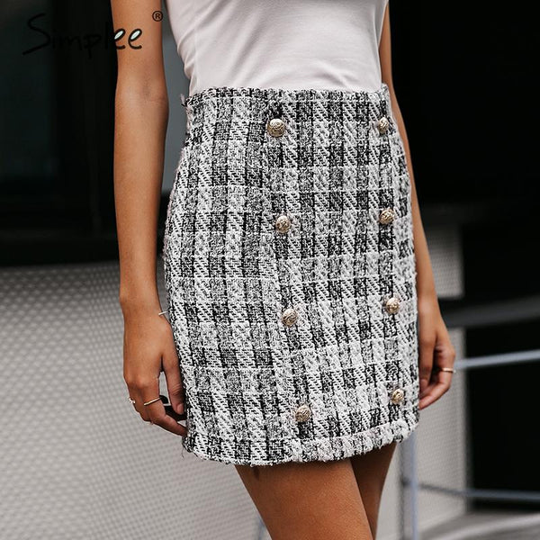 Double-Breasted tweed plaid women skirt A-line elegant office ladies short mini skirt Vintage autumn winter female skirt