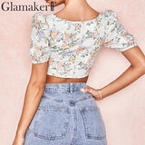 Puff sleeve floral print top sexy camis & tanks Women summer buttons crop top Female square collar streetwear top