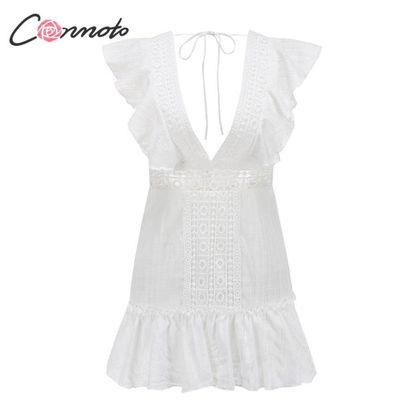 Elegant White Embroidery Women Short Dress 2019 Summer Fashion Sexy Deep V Lace up Hollow Out Dress Holiday Vestidos