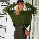 Simplee O neck tassel pullover sweater Casual army green long sleeve sweater 2018 Autumn winter sexy outerwear femme