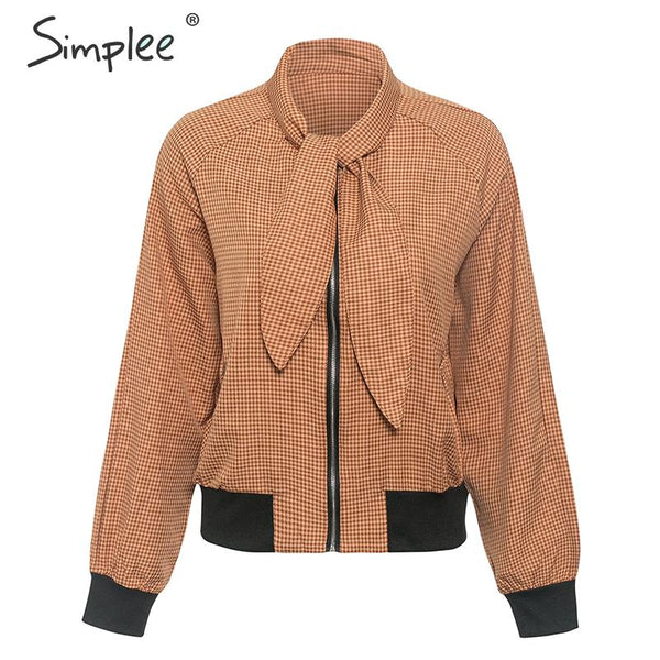 Simplee Plaid bow tie women jacket coat Long sleeve zipper basic ladies jacket bomber Casual motorcycle ladies outwear jeacket