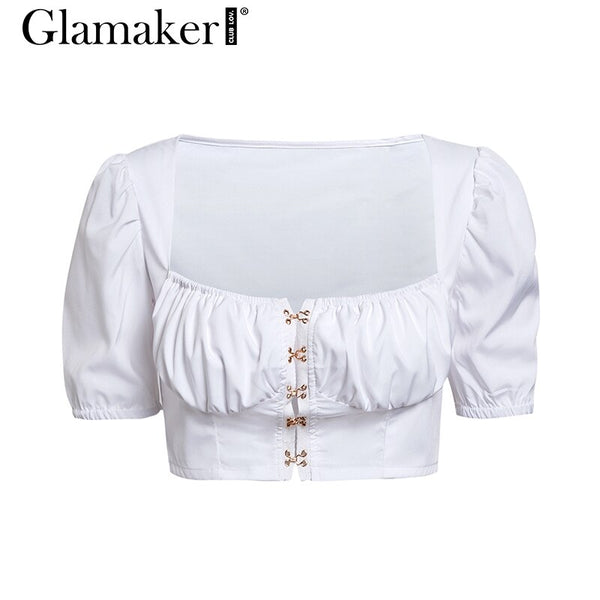 Sexy white pleated crop top women Streetwear summer button top tees short puff sleeve Female elegant black blouse shirt