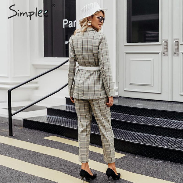 Plaid double breasted women blazer suit set Long sleeve office ladies pant suits female Casual streetwear trouser suit