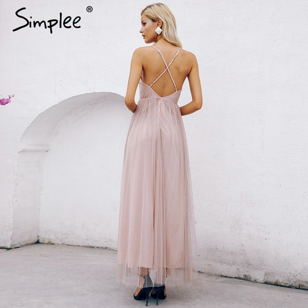 Simplee Mesh pink lace women dress Elegant v neck evening maxi dress sexy long party dress