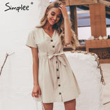 Simplee Vintage button women dress shirt V neck short sleeve cotton linen short summer dresses