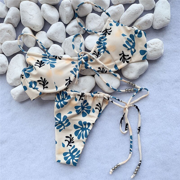 Brazilian string bikini thong Floral print swimwear female Push up bathing suit Bandage swimsuit women 2019 Sexy biquini bathers