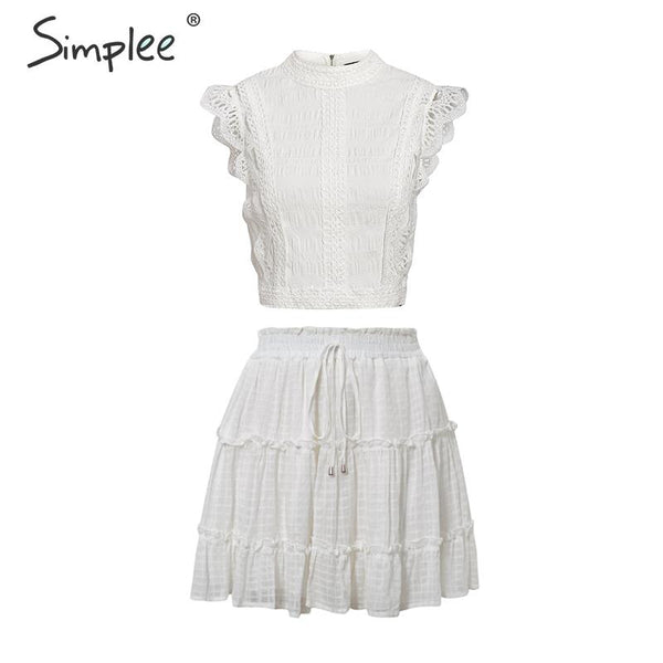 Two-piece white holiday dress women Sleeveless hollow out ruffle lace up mini dresses Summer short top skirt lady dress