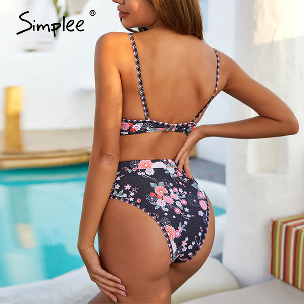 Sexy floral print bikini set Triangle push up summer beach swimwear High waist micro women beach holiday swimsuit 2020