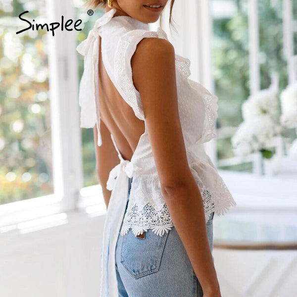 Simplee Backless lace embroidery women tank tops Ruffled hollow out peplum tops female summer style Streetwear ladies white tops