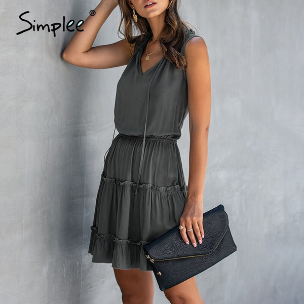Simplee Summer sleeveless boho dress Solid ruched high waist v neck summer dress casual ruffled cotton chic plus size dress 2020