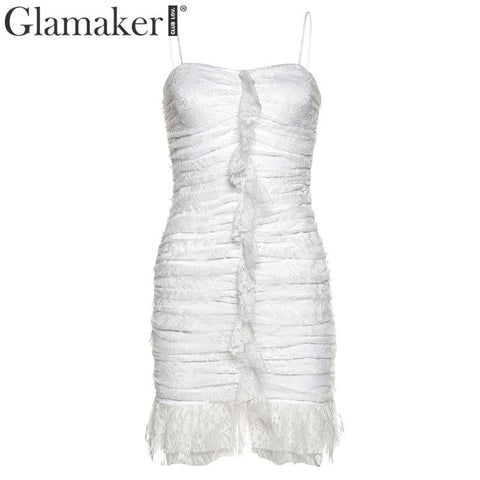 Knitted white floral print drawstring bodycon dress Women ruffles elegant mini dress Female autumn winter sexy dress