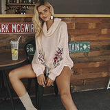 Simplee Embroidery turtleneck winter sweaters and pullovers Women lantern sleeve pullover female Soft warm autumn casual jumper