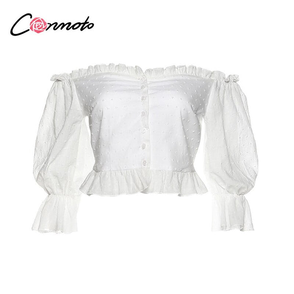 Sexy off shoulder ruffles white blouse women casual polka dot summer 2020 blouse shirts blouses shirt button crop top