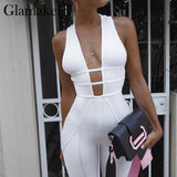 Hollow ouyt knitted sexy jumpsuit Women bodycon white jumpsuits & rompers Female elegant playsuit jumpsuit overalls