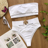 Sexy solid bandeau bikini set High cut swimwear women Hollow out swimsuit female Summer beach bikini Bathers bathing suit new