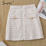 Two-piece tweed faux fur women sets Autumn winter female skirt suit sets Patchwork single breasted office ladies suits