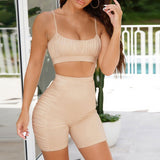 Sexy women 2PCS Yoga set female 2020 Sleeveless tank top bra and fitness shorts Pleated Yoga suit Tight gym sports clothes suit