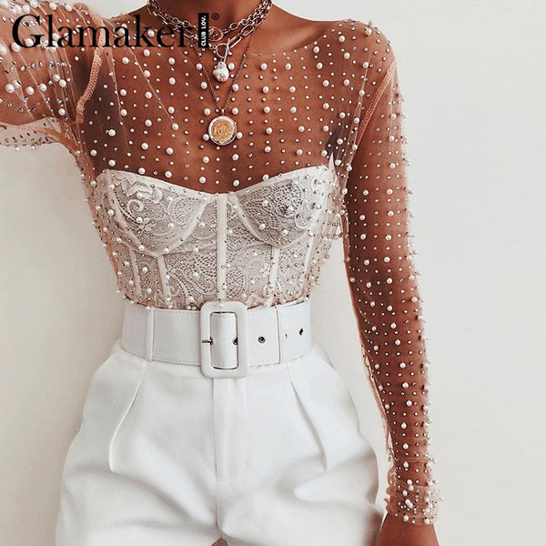 Glamaker Sexy club white blouse women Transparent  chic pearl long sleeve knitted blouse Mesh retro party bodycon summer blouse