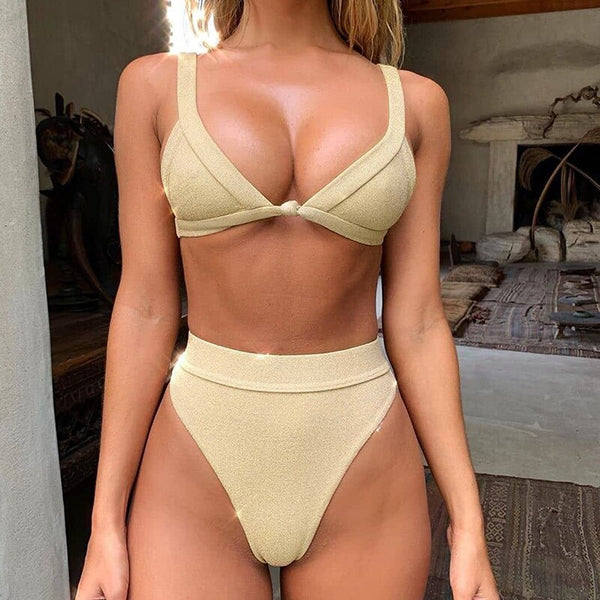 High waist bikinis 2020 Mujer Triangle swimsuit female Solid Summer bathers High cut swimwear women Deep v-neck bikini shiny new
