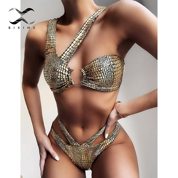 Shiny swimwear women Snake print bikini 2020 mujer Sexy irregular swimsuit female Golden bathers bathing suit High cut biquini