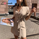 Button casual beach summer dresses women 2020 solid pockets short dress bow sash robe femme high waist dresse vestidos
