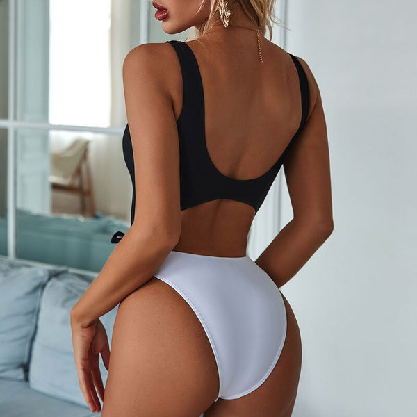 Patchwork sexy one piece suit 2020 High cut swimwear women Ring chain swimsuit female Bandage bathing suit monokini bodysuits