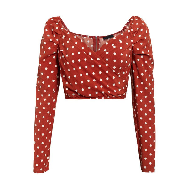 summer 2020 wrap sexy women blouses shirt beach polka dot red crop tops puff vintage ruched blusas mujer