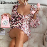 Elegant party patchwork holiday floral dress Spring beach lantern sleeve pleated bodycon pencil dress Summer casual new