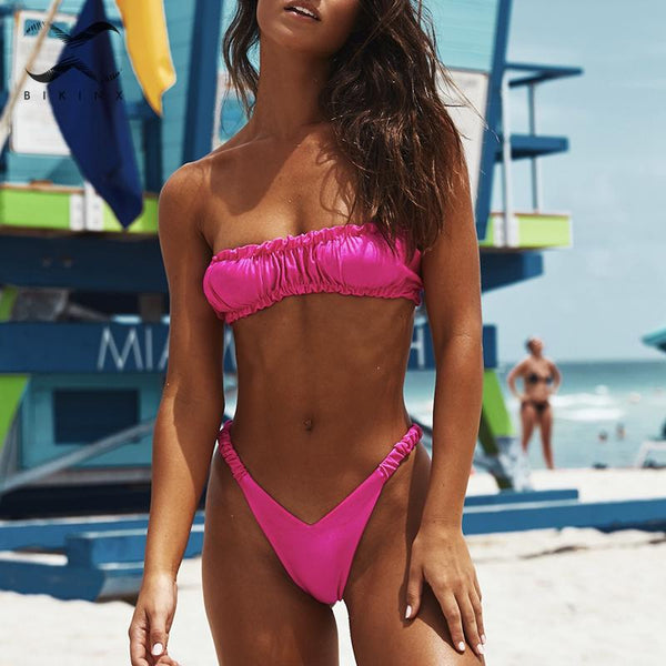 Extreme Brazilian bikini thong 2019 High cut swimwear female bathing suit Pleated swimsuit women Bandeau biquini Summer bathers