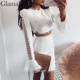 Lace white budycon mini dress Women two piece suit long sleeve winter dress Autumn short sexy party club elegant dress