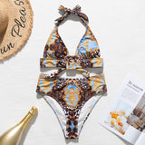 Vintage bikini push up Print swimsuit women Triangle swimwear 2020 female Buckle bathing suit bathers Summer new biquini Mujer