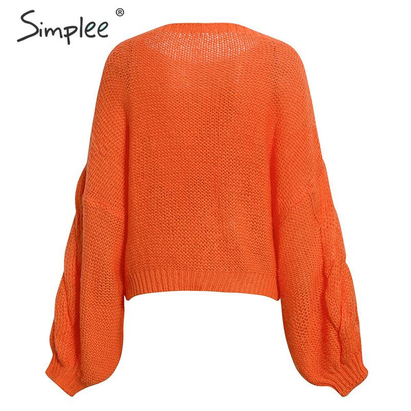 Hollow out mohair women pullover sweater Autumn winter lantern sleeve female orange sweater Oversize ladies jumper 2019