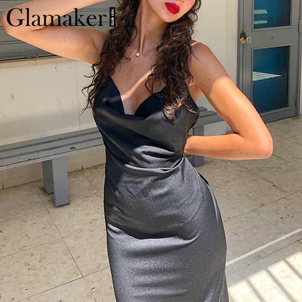 Sexy cowl neck black stain party dress Summer sleeveless bodycon backless club sundress Spring vintage elegant vestidos