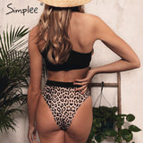 Simplee Sexy bandeau bikini Leopard print one shoulder summer swimsuit Push up hollow out women swimwear bathing suit biquini