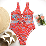 Large size one piece swimsuit female biquini Retro print bikini backless bathing suit women Hollow out sexy swimwear XL