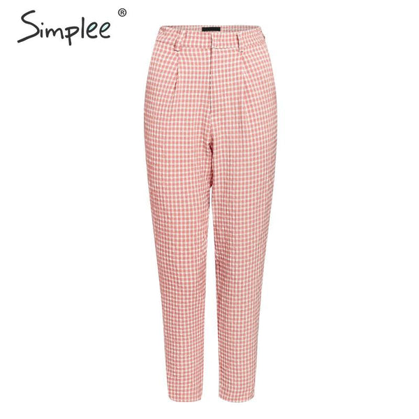 Pink plaid casual pants women 2019 Summer vintage work pants capris female Straight office ladies British style trousers